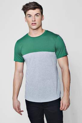 boohoo Colour Block Curved Hem T-Shirt With Taping