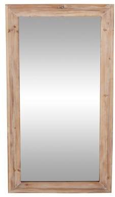 DecMode Decmode Rustic 47 X 24 Inch Brown Wood-Framed Rectangular Wall Mirror