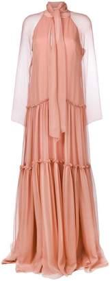 Alberta Ferretti panelled ruffle maxi dress