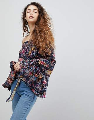 Free People Free Spirit Printed Off Shoulder Blouse