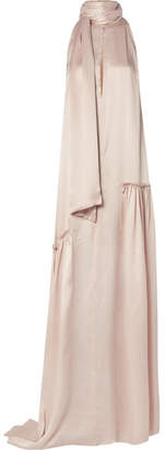 Ann Demeulemeester Ruched Silk-satin Gown - Pastel pink