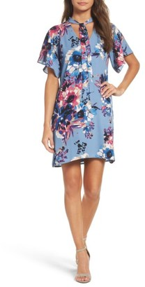 Women's Charles Henry Tie Neck Shift Dress $98 thestylecure.com
