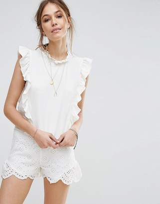 Moon River Cotton Twill Frill Top $87 thestylecure.com
