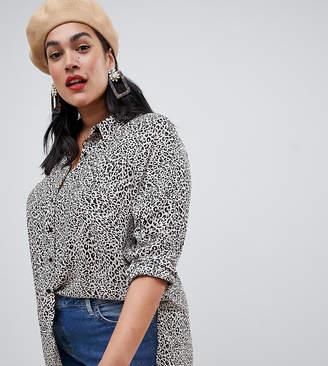 Asos New Look Plus New Look Curve Leopard Print Shirt