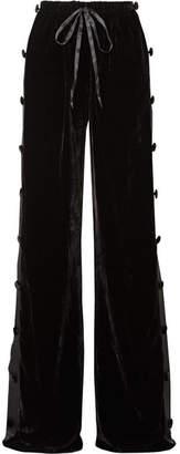 Naeem Khan Satin-paneled Velvet Wide-leg Pants - Black