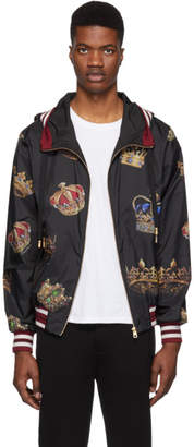 Dolce & Gabbana Black Hooded Crown Jacket