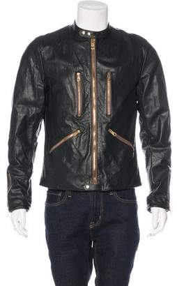 Dolce & Gabbana Bull Leather Biker Jacket