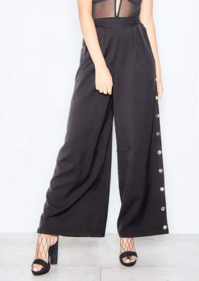 Missy Empire Missyempire Alena Black Wide Leg Side Button Trousers