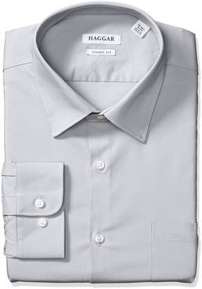 Haggar Dress Shirts Men's Classic Fit Performance Adjustable Collar Solid, Light Grey