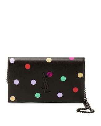 Saint Laurent Kate Small Monogram Polka-Dot Wallet on Chain