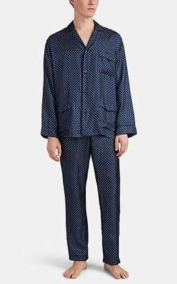 Barneys New York Men's Geometric-Print Silk Twill Pajama Set - Blue