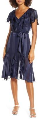 Elizabeth Crosby Tonal Stripe Ruffle Cocktail Dress