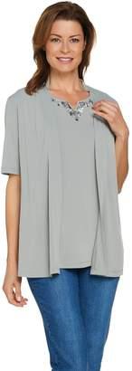 Susan Graver Artisan Liquid Knit Short Sleeve Cardigan with Tank