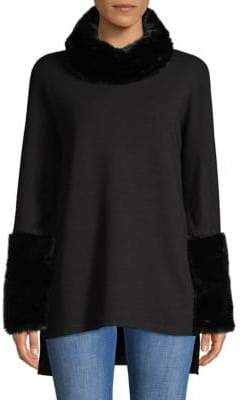 Faux-Fur Trimmed Sweater