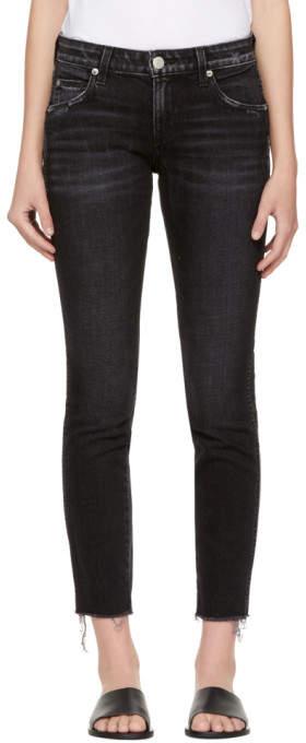 Black Stix Crop Frayed Jeans