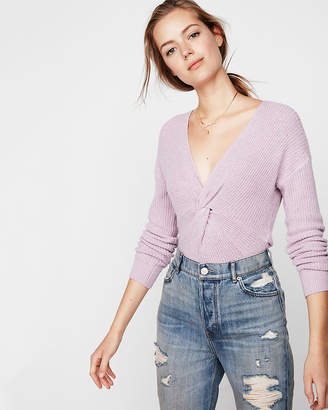 Express Ribbed Twist Front V-Neck Sweater