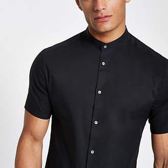 River Island Black poplin grandad collar button-up shirt