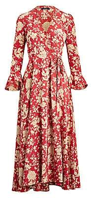 Polo Ralph Lauren Women's Harlow Long-Sleeve Floral Maxi Wrap Dress - Size 0