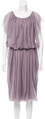 Alberta Ferretti Silk Gathered Dress