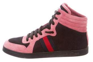 Gucci Suede Web-Trimmed Sneakers