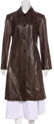 Carlisle John Leather Long Sleeve Knee-Length Coat