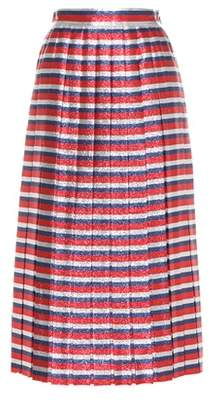 Gucci Striped silk-blend lamé skirt