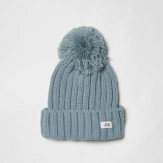 River Island Boys light blue bobble top knit beanie hat