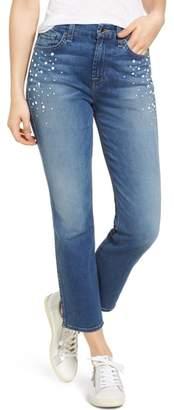 Jen7 Pearl Embellished Crop Straight Leg Jeans