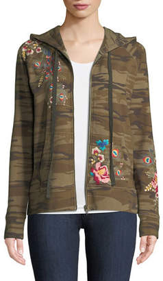 Johnny Was Vernazza Embroidered Zip-Front Hoodie Jacket