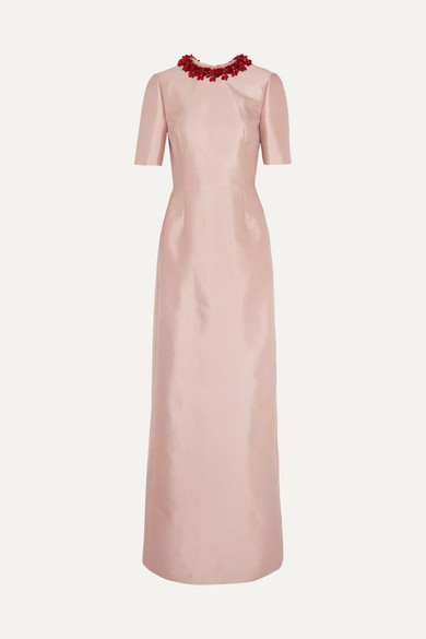 prada Prada - Embellished Wool And Silk-blend Gown - Antique rose