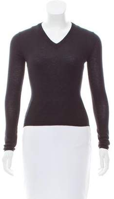 Miu Miu Long Sleeve V-Neck Sweater