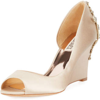 Badgley Mischka Meagan Embellished Peep-Toe Wedge Pumps