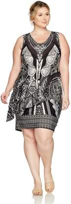 OneWorld Women's Plus Size Sleeveless Flip Flop Scoopneck Printed Dress