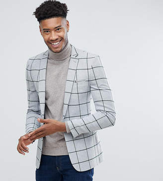 Asos Design TALL Super Skinny Blazer In Grey Wool Mix With Green Windowpane Check