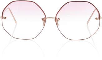 Linda Farrow Oversized Polygon Round-Frame Sunglasses
