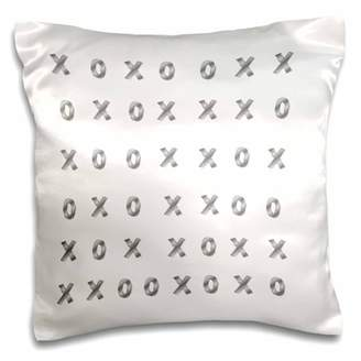 3dRose Image of Rows of Silver Computer X And O - Pillow Case, 16 by 16-inch