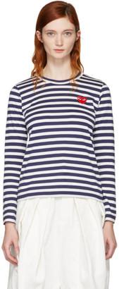 Comme des Garçons Play Navy Long Sleeve Striped Heart Patch T-Shirt $140 thestylecure.com
