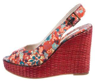 Marc by Marc Jacobs Floral Peep-Toe Wedges Red Floral Peep-Toe Wedges
