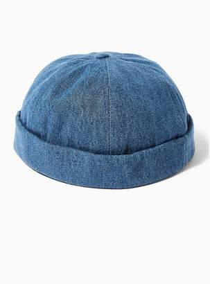 08ad772064fc8 Topman Mens Blue Denim Docker Beanie