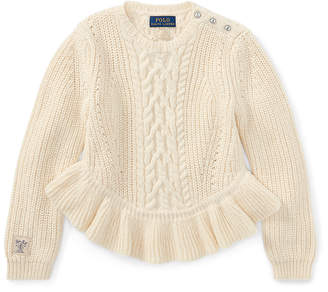 Ralph Lauren Aran Cotton Peplum Sweater