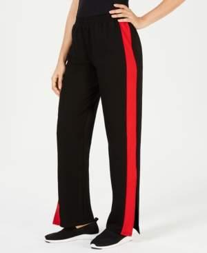 Waisted Side-Stripe Flare-Leg Pants