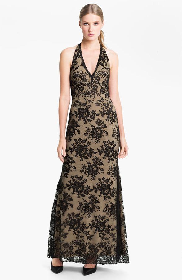 Jessica McClintock V-Neck Lace Halter Gown