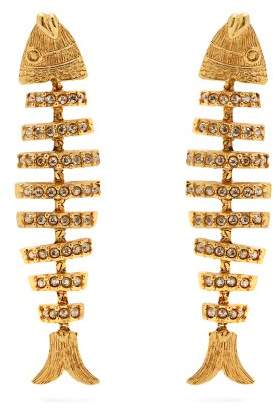 Oscar de la Renta Fish Crystal Embellished Earrings - Womens - Gold