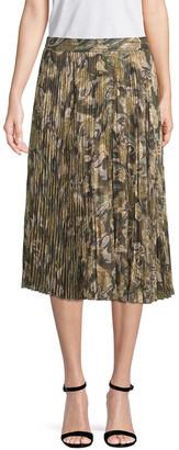 Haute Hippie Pleated Midi Skirt