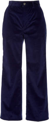 Altuzarra Adler High-Rise Cropped Velvet Cotton-Blend Pants