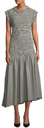 3.1 Phillip Lim Gathered Gingham Drop-Waist Dress