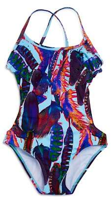 386727d0b8970 ... Bloomingdale s · Pilyq Girls  Feather-Print Laser-Cutout Swimsuit -  Little Kid