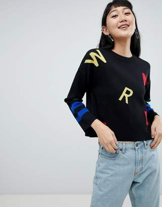 Asos DESIGN Sweater In Alphabet Pattern