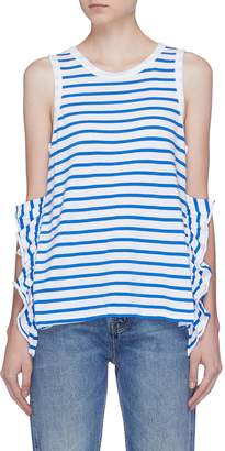 Current/Elliott Ruffle side split stripe muscle tank top