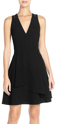 Women's Adelyn Rae Asymmetrical Crepe Fit & Flare Dress $98 thestylecure.com